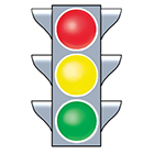 Red, yellow, and green traffic light.